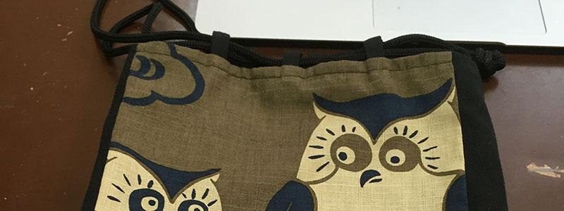 フクロウ柄信玄袋カバー
